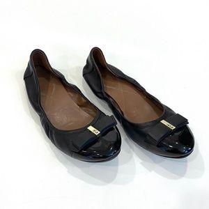 Cole Haan Black Cap Toe Ballet Flats w/Gold Accent